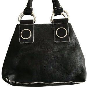 MAXX NEW YORK Medium Black Leather Handle Bag
